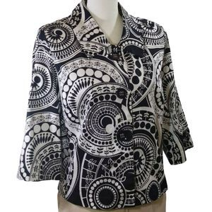 Cato Black White Geometric Button Front Blazer M